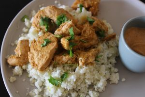 Whole30 Chicken Almond Butter Satay Coconut Cauliflower Rice
