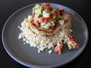 Love of Learning - Whole30 Strawberry Guacamole Swordfish with Coconut Cauliflower Rice