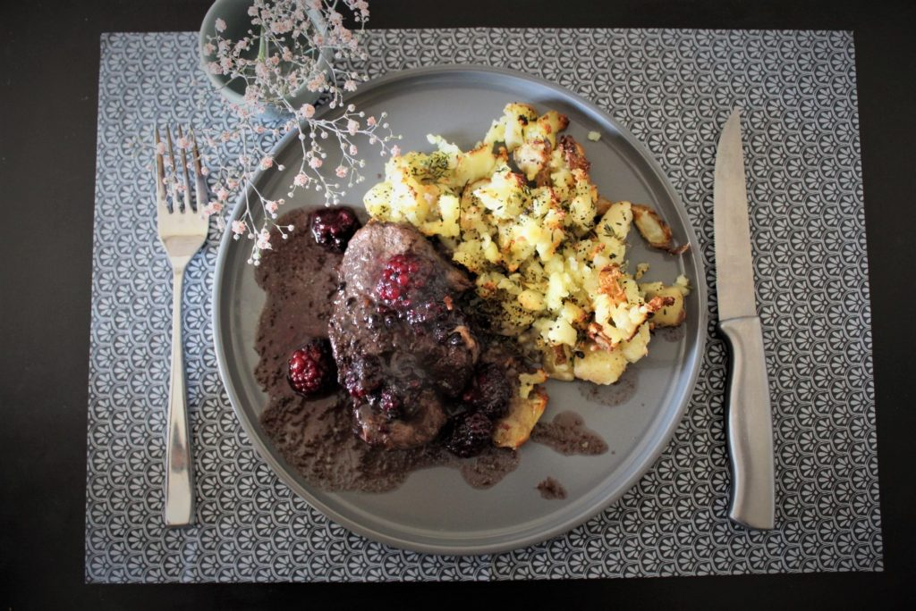 Overwhelmed - Whole30 Blackberry Marinated Steak with Crispy Smashed Potatoes