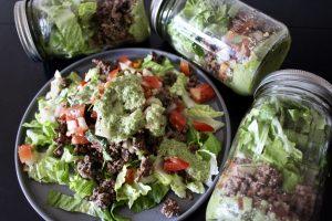 Writing - Whole30 Taco Mason Jar Salad with Green Goddess Dressing
