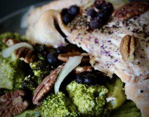 creativity - whole30 salmon on roasted broccoli with lemon vinaigrette