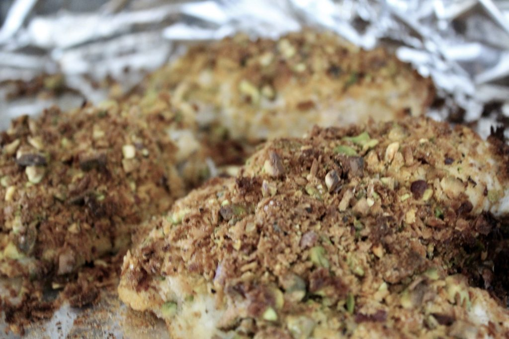 how to do your own happiness project - whole30 coconut pistachio crusted chicken