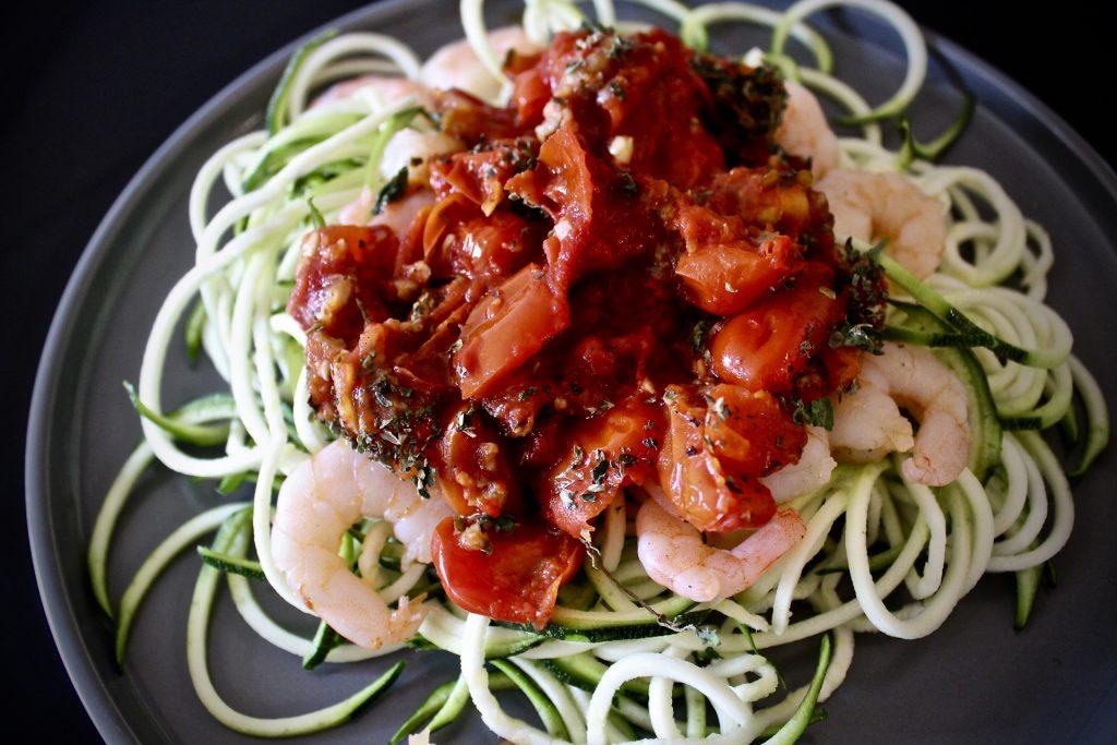 for the right reasons - whole30 shrimp pomodoro pasta