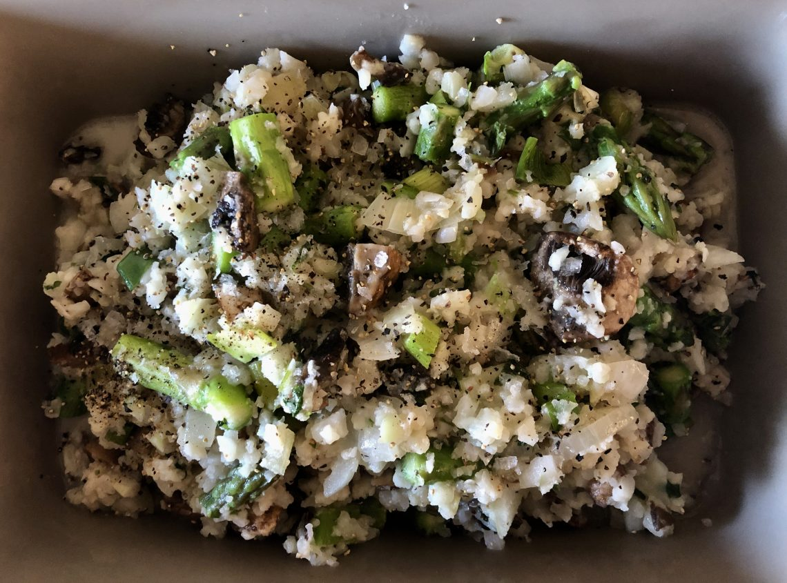 joy - whole30 mushroom and asparagus cauliflower risotto